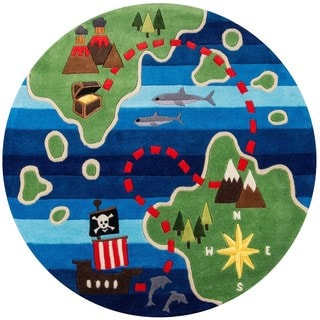 Hand-Tufted Momeni 'Lil Mo Pirate Multi Polyester Rug (5' Round)