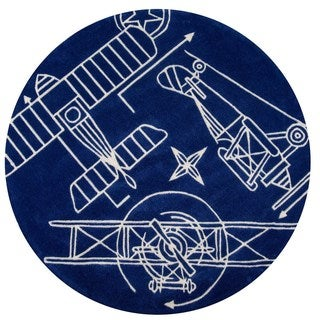 Hand-Tufted Momeni 'Lil Mo Airplane Blueprint Navy Polyester Rug (5' Round)