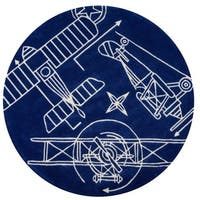 Momeni Lil Mo Hipster Navy Airplane Blueprint Hand-Tufted Rug (5' X 5' Round) - 5' x 5'