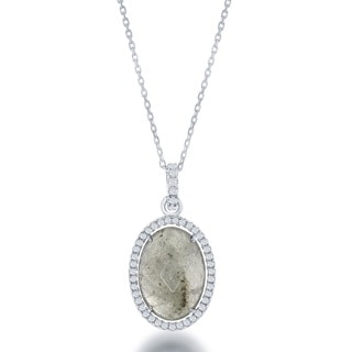 La Preciosa Sterling Silver Natural Stone and Cubic Zirconia Oval Pendant