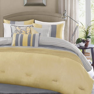 Madison Park Selma Yellow 7-piece Queen Size Comforter Set (As Is Item)