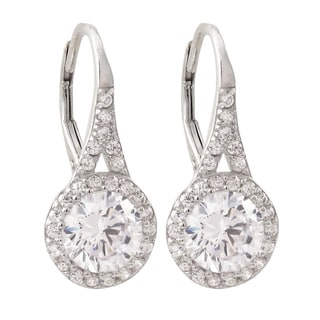 Luxiro Sterling Silver Cubic Zirconia Circle Drop Earrings