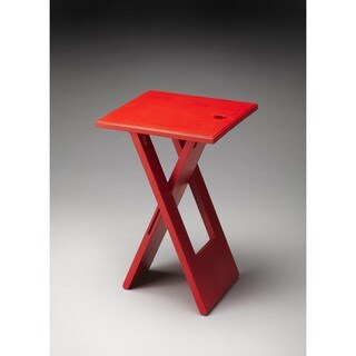 Handmade Butler Hammond Red Wooden Folding Table (India)