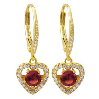 Luxiro Gold Finish Sterling Silver Red Cubic Zirconia Heart Dangle Earrings