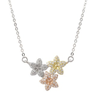 Tri-color Gold Finish Cubic Zirconia Flower Necklace
