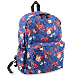 J World OZ Vintage Blue Polyester Floral Campus Backpack