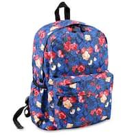 J World OZ Vintage Blue Polyester Floral Campus Backpack
