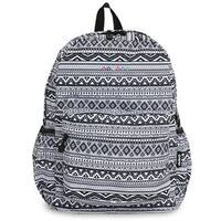 J World OZ Black-and-white Tribal-pattern Polyester Campus Backpack
