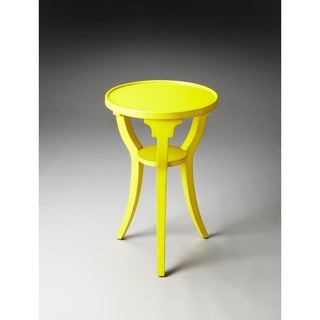 Butler Dalton Bright Yellow Wood and MDF Round Accent Table