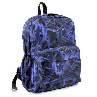 J World OZ Blue/Black Disco-print Polyester Campus Backpack