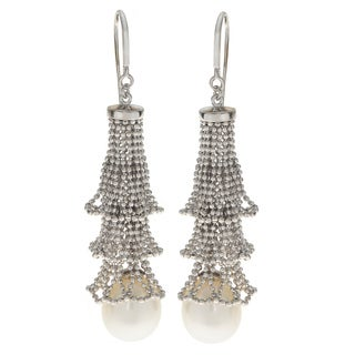 Pearls For You Sterling Silver White Freshwater Pearl 10-11-millimeter Lace Chandelier Earrings