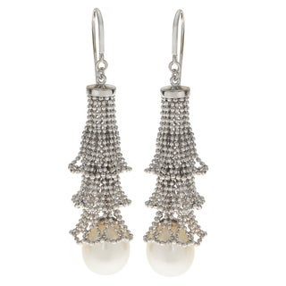 Link to Pearls For You Sterling Silver White Freshwater Pearl 10-11-millimeter Lace Chandelier Earrings Similar Items in Earrings