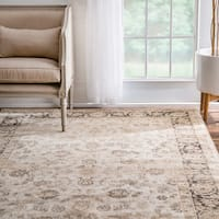nuLOOM Traditional Persian Border Floral Ivory Rug (9' x 12')