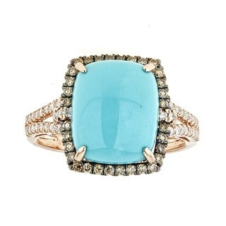 Anika and August 14k Rose Gold Sleeping Beauty Turquoise and Diamond Ring