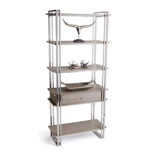 Hip Vintage Atkinson Nickel Metal and Wood Shelving Unit