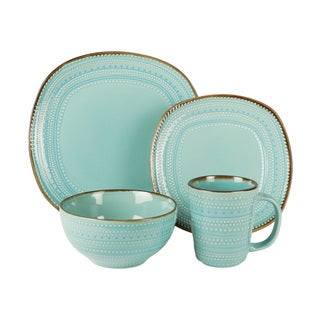 American Atelier Tallulah Blue Earthenware 16-piece Dinnerware Set