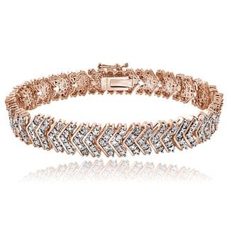 DB Designs Rose Goldtone 1ct TDW Diamond Chevron Bracelet