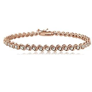 DB Designs Rose Goldtone 1/4ct TDW Natural Diamond S Design Tennis Bracelet
