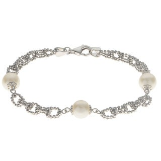 Pearls for You Sterling Silver Freshwater Pearl 7.5-inch Lace Bracelet