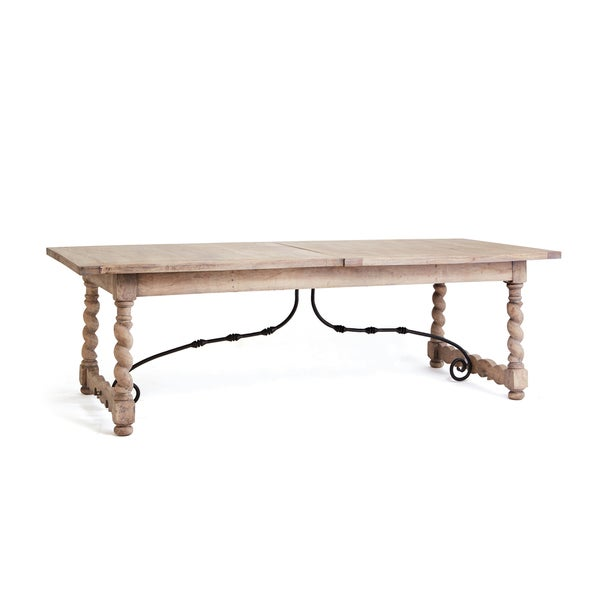 Whitewash Wood Removable Leaf Dining Table