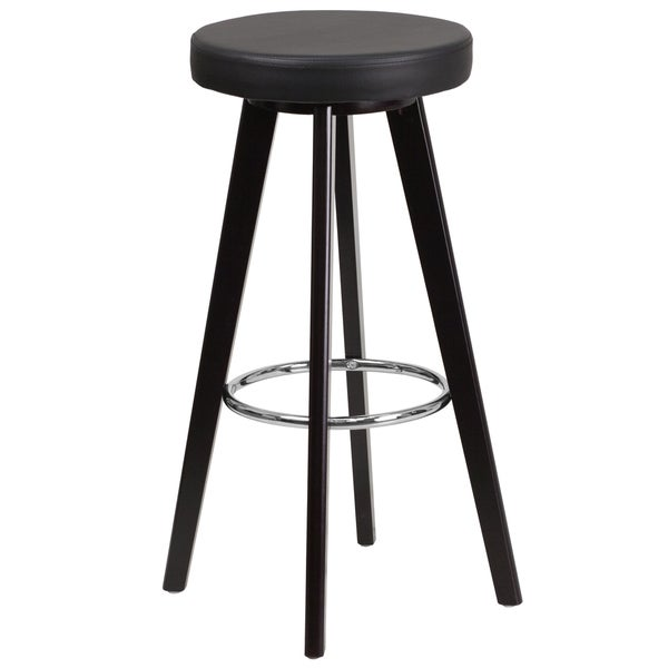 Trenton Series 29-inch' High Contemporary Vinyl Barstool with Cappuccino Wood Frame