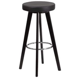Trenton Series 29-inch' High Contemporary Vinyl Barstool with Cappuccino Wood Frame (Option: White)|https://ak1.ostkcdn.com/images/products/12044721/P18915125.jpg?impolicy=medium
