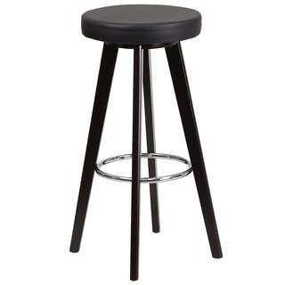 Trenton Series 29-inch' High Contemporary Vinyl Barstool with Cappuccino Wood Frame|https://ak1.ostkcdn.com/images/products/12044721/P18915125.jpg?impolicy=medium