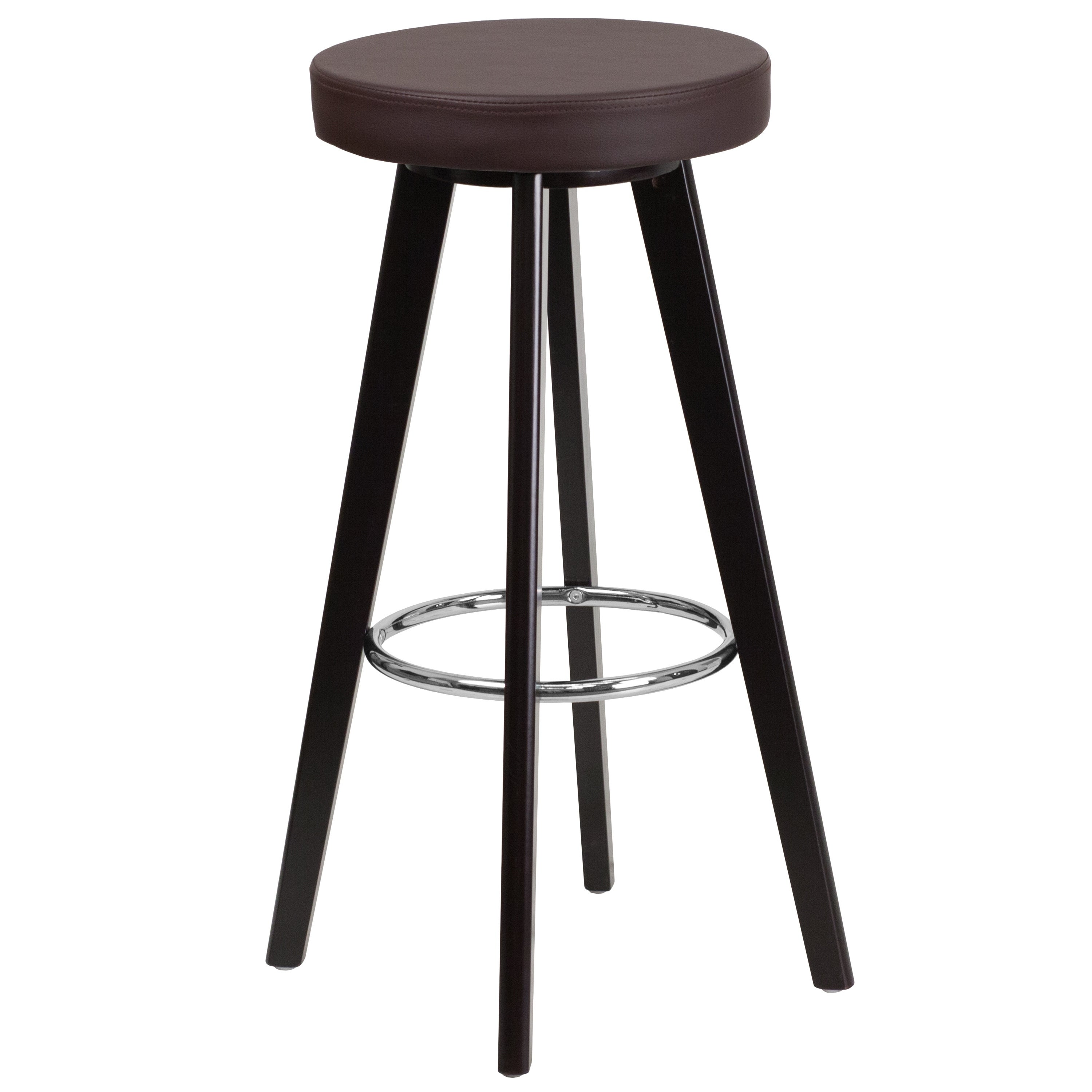 Amazing Trenton Series 29 Inch High Contemporary Vinyl Barstool With Cappuccino Wood Frame Dailytribune Chair Design For Home Dailytribuneorg