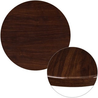 30'' Round High-Gloss Resin Table Top with 2'' Thick Drop-Lip - Walnut