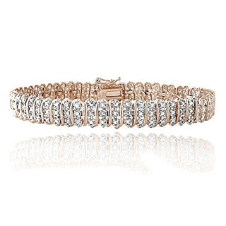 DB Designs Rose Goldtone 1ct TDW Diamond S Pattern Tennis Bracelet