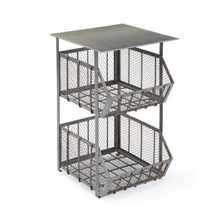 Apex Silver Iron Storage Accent Table