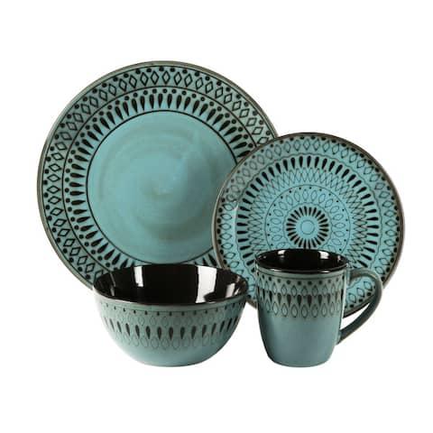 American Atelier Romy Blue Earthenware 16-piece Dinnerware Set