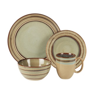 American Atelier Zola Brown Earthenware Geometric 16-piece Dinnerware Set