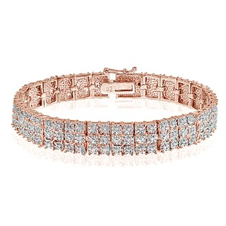 DB Designs Rose Goldtone 1ct TDW Diamond Miracle Set 3-Row Tennis Bracelet