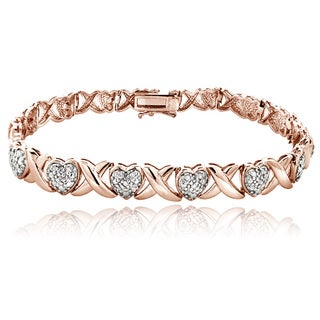 DB Designs Rose Goldtone 1/2ct TDW Diamond X and Heart Bracelet