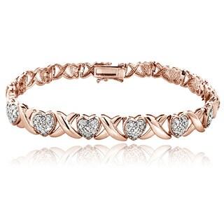 DB Designs Rose Goldtone 1/2ct TDW Diamond X and Heart Bracelet
