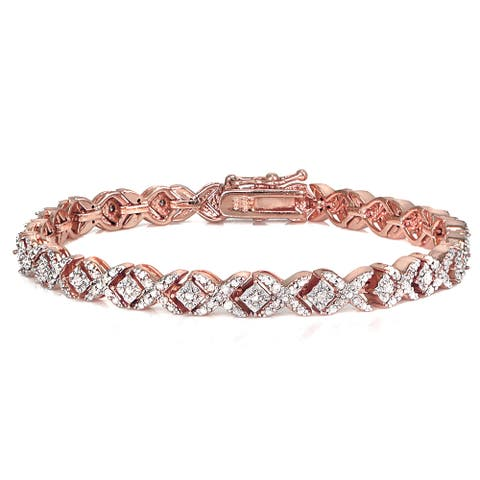 DB Designs Rose Goldtone 1ct TDW Diamond Miracle Set X Tennis Bracelet