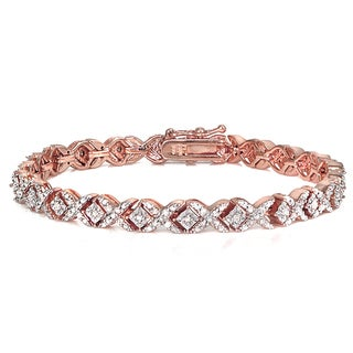 DB Designs Rose Goldtone 1ct TDW Diamond Miracle Set X Tennis Bracelet