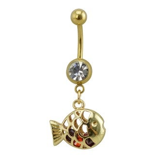 Supreme Jewelry Two-Tone Gold Surgical Steel with Cubic Zirconia and Red Gem Stones Fish Belly Ring