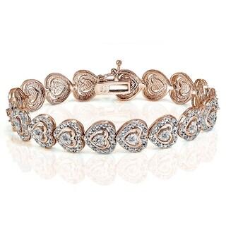 DB Designs Rose Goldtone 1ct TDW Diamond Heart Tennis Bracelet