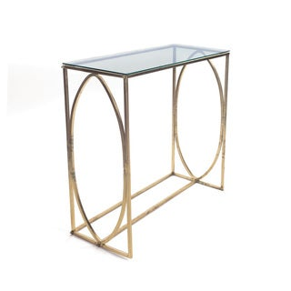Hip Vintage Ovale Brass/Glass Console Table