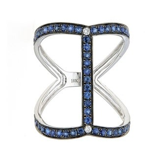 Anika and August 18k White Gold Round-cut Blue Sapphire and Diamond Ring