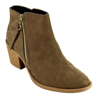 QUPID FB81 Women's Classic Stacked Chunky Heel Side Zipper Ankle Booties
