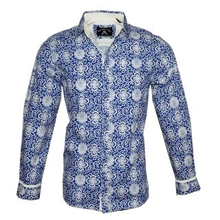 Men's 'Out of the Blue' Long Sleeve Fashion Button Up Shirt by Rock Roll n Soul