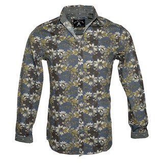 Men's Floral Fashion Long Sleeve Button Up Shirt by Rock Roll n Soul