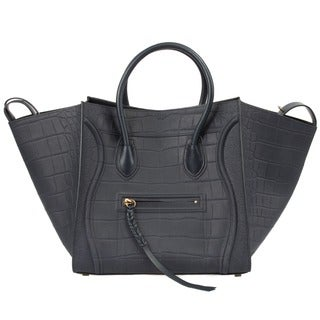Celine Phantom Navy Nubuck Stamped Crocodile Leather Handbag