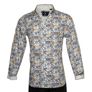 Men's Fashion 'EVERY ROSE HAS A THORN' Button-up White Shirt by Rock Roll N Soul