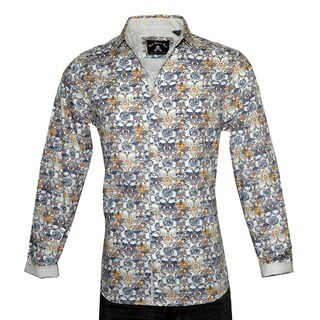 Men's 'Every Rose has a Thorn' White Long Sleeve Floral Fashion Button Up Shirt by Rock Roll n Soul (3 options available)