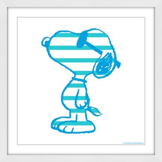 Marmont Hill 'Snoopy Striped' Framed Painting Print