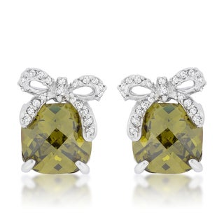 Kate Bisset Rhodium-plated Olivine and Cubic Zirconia Bow Drop Earrings
